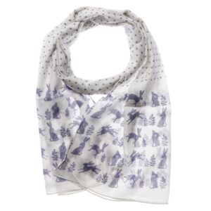 Hare Scarf - Navy and White